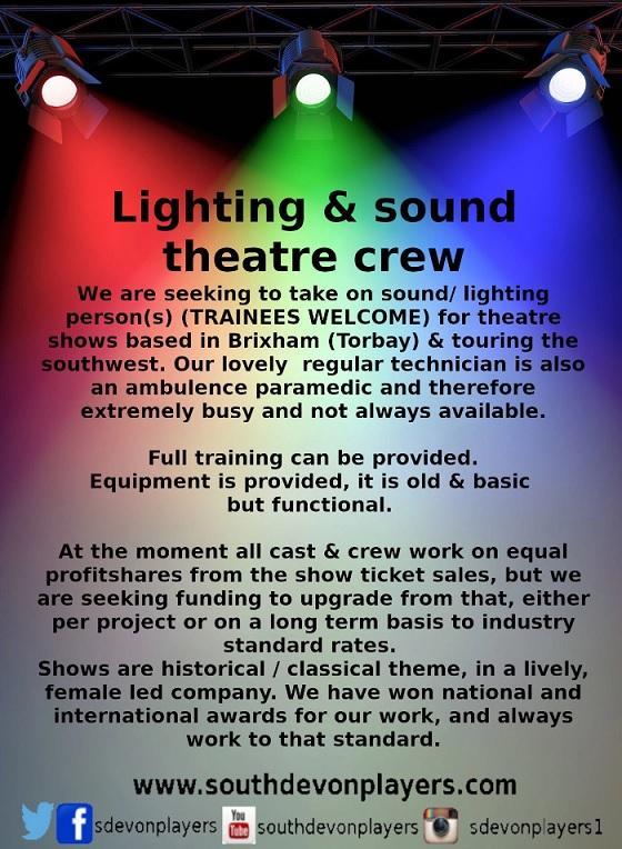Seeking theatre sound/lighting