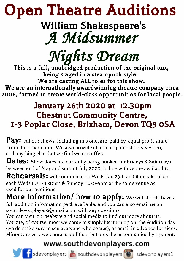 Open Theatre Castings for Shakespeare's A Midsummer Nights Dream (steampunk staging)