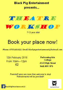 Theatre Workshop 7 - 13 year olds!