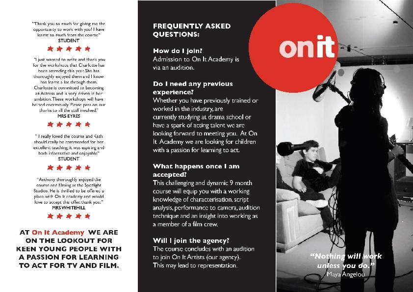 On It Academy leaflet
